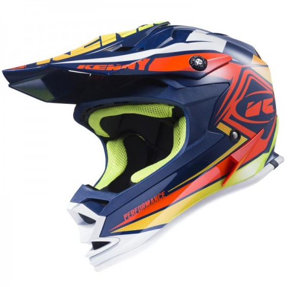 PERFORMANCE Helm Erwachsene Dunkelblau Orange Limettengrün