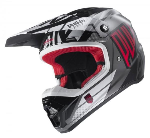 Erwachsene Helm Grau Schwarz Rot