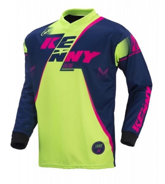 TRACK Shirt Kinder Dunkelblau Limettengrün Pink