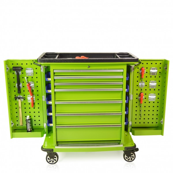 Werkzeugwagen Professional Serie Seitenklappen grün